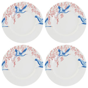 Cherry Blossom and Lucky Cranes Side Plates, Set of 4
