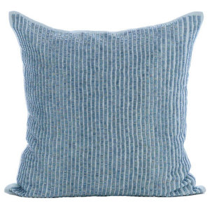 Striped Beaded Blue Cotton Linen 30x30 Cushion Covers, Misty Blue