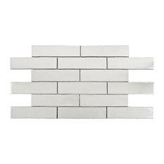 "3""x12"" Alaskan Craquelle Ceramic Wall Tiles, Set of 16, White"