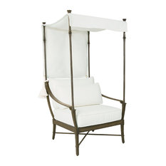 Jane Modern French White Canopy Metal Outdoor Lounge Chair   Outdoor Lounge  Chairs