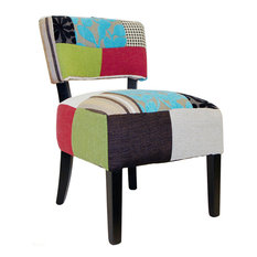 Plush Patchwork Square Back Padded Chair, Blue/Green