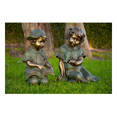 Boy and Girl Reading Statue