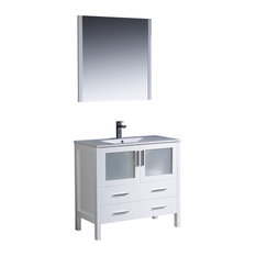 "Fresca Torino 36"" White Modern Bathroom Vanity With Integrated Sink"