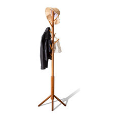 Bamboo Coat Rack Freestanding Stand Tree Adjustable Coat with 3 Sections 8 Hooks