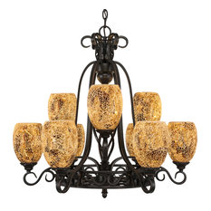 Elegant 9-Light 2-Tier Chandelier Dark Granite Gold Fusion Glass