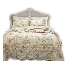 Prairie Bloom Reversible 100%Cotton Quilt Set, King Set