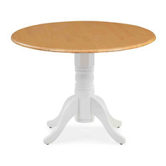 """42"""" Burlington Round Dining Table Two 9"""" Drop Leaves, Two Tone/White Oak"""