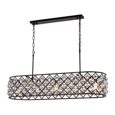 Azha 5-Light Oil Rubbed Bronze Oval Chandelier With Crystal Spheres