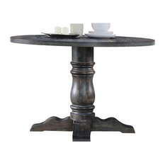 """ACME Wallace 47"""" Round Pedestal Dining Table, Weathered Gray"""