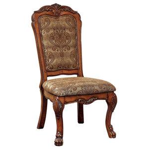Side Chairs Seat, Cal Foam, Antiqued Oak Finish, Set of 2