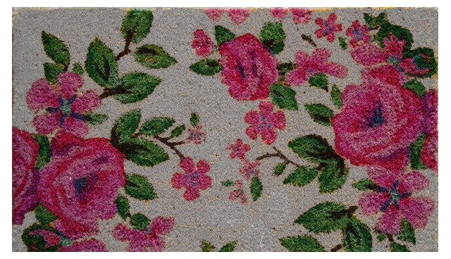 Printed Coir Floral Doormat Traditional Doormats By