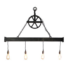 Handcrafted 4-Light Steel Beam Chandelier With Hanging Pulley