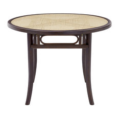 Adna Dining Table Clear Tempered Glass Top Over Cane Walnut