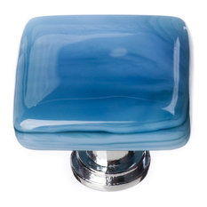 Cirrus Marine Blue Knob, Satin Nickel Base