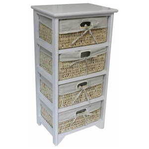 Contemporary Storage Cabinet, White Painted Wood With 4 Wicker Drawers