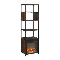 70-inch Metal And Wood Tower Fireplace Dark Walnut