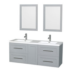 """Olivia 60"""" Double Dove Gray Vanity, Resin Top, Integrated Sinks, 24"""" Mirrors"""