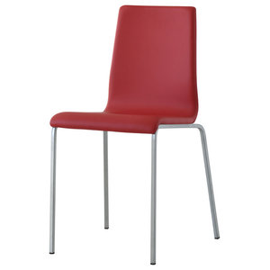 Domino Raspberry Leather Eco-Friendly Leather Chairs, Set of 4