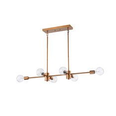 6-Light Natural Brass Exposed Bulb Linear Mid-Century Modern Chandelier