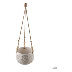 "6"" Gold Geo Ceramic Hanging Planter With Beads"