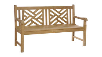 Teak Wood Chippendale Double Bench