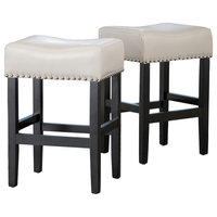 GDF Studio Ralph Off-White Leather Backless Counter Stool, Set of 2