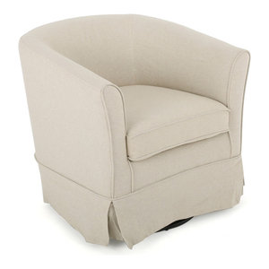 GDF Studio Hamilton Natural Fabric Swivel Chair with Loose Cover, Natural