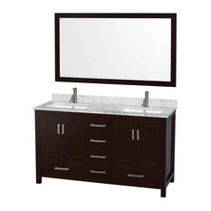 "Wyndham Sheffield 60"" Double Sink Espresso, White Carrera Marble, Square Sink"