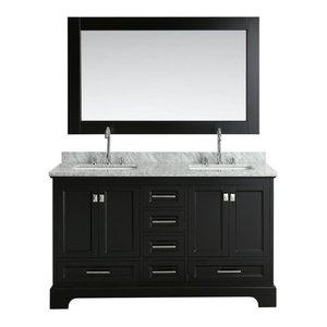 "Omega 61"" Double Sink Vanity Set, Espresso"