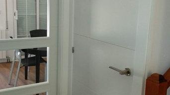 Puertas lacadas con ranurado ,puerta cristalera japonea corredera