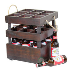 Vintique Wood - Antique Style Stackable Wooden Beer Crates - Kitchen Storage And Organization