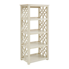 MDF and Pine Wood Bookcase, Antique White