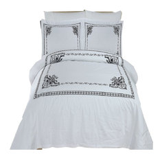 Athena Embroidered 100% Cotton Duvet Cover Set, White and Black, King/Cal King