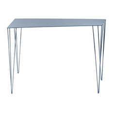 Chele Trapezoidal Console Table, Pigeon Blue