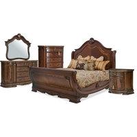 AICO Bella Veneto 5-Piece Sleigh Bed Set in Cognac - Option 2, Eastern King