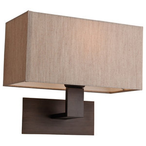 Prince Contemporary Wall Light, Bronze With Beige Shade