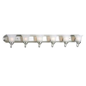 Progress Lighting 6-100W Medium Bath Bar, Brushed Nickel