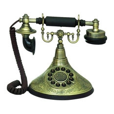 "Brass Functional Cradle Phone Statue 8""H"