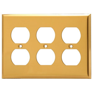 Switch Plates Bright Solid Brass Triple Outlet