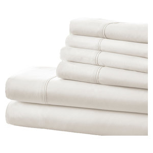 Home Collection Ultra-Soft Luxury 6 Piece Bed Sheet Set, Queen, White