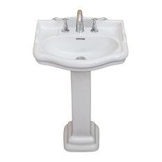 """Roosevelt Pedestal Sink Only, Biscuit, 8"""" Faucet Spread, 22"""" Sink"""