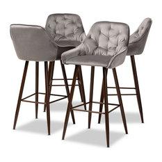 Baxton Studio Grey Velvet Upholstered and Walnut Finished 4-Piece Bar Stool Set