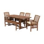 6-Piece Acacia Patio Dining Set With Cushions, Dark Brown