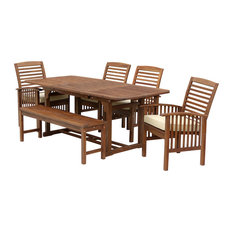 6-Piece Acacia Patio Dining Set With Cushions, Dark Brown