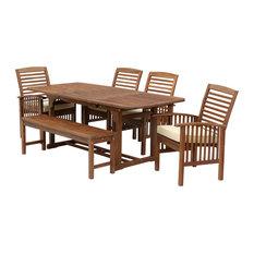 1st Avenue - Herman 6-Piece Acacia Dining Set, Dark Brown - Outdoor Dining Sets