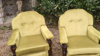 Reupholstered 1930,s show wood chairs
