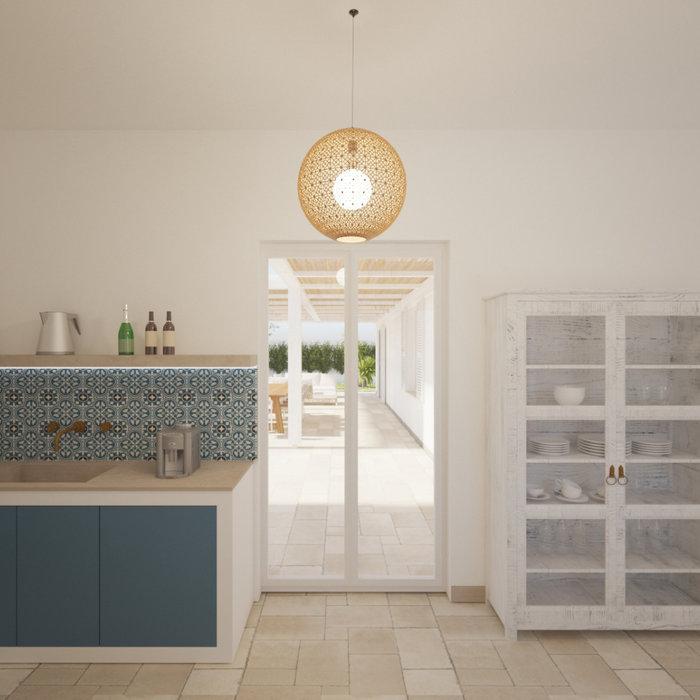 Immagine di una cucina a L mediterranea chiusa e di medie dimensioni con lavello integrato, ante lisce, ante blu, top in marmo, paraspruzzi multicolore, paraspruzzi con piastrelle in ceramica, elettro