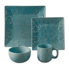 16-Piece Savanah Dishes Set, Turquoise