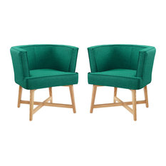 Anders Accent Chair Upholstered Fabric Set Of 2 Teal
