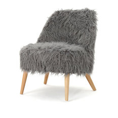 GDF Studio Soho Shaggy Faux Fur Accent Chair, Gray/Natural
